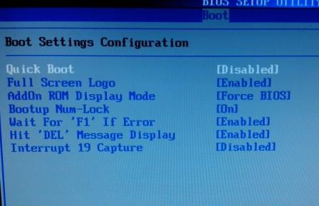 Управление параметрами загрузки в BIOS