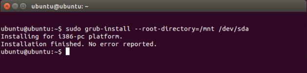 Восстановление загрузчика GRUB командой sudo grub-install --root-directory=/mnt /dev/sda