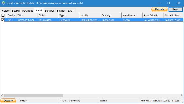 Запуск установки обновления в Portable Update