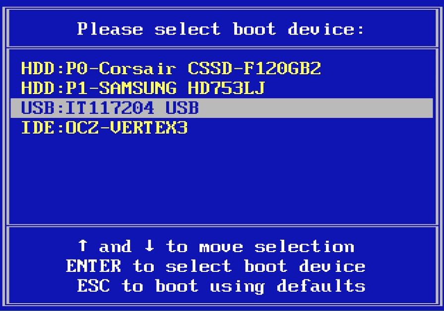 USB устройство в Boot Menu
