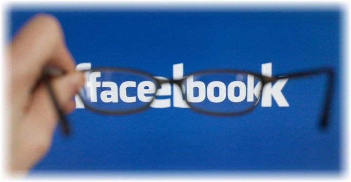 Надпись Facebook через очки