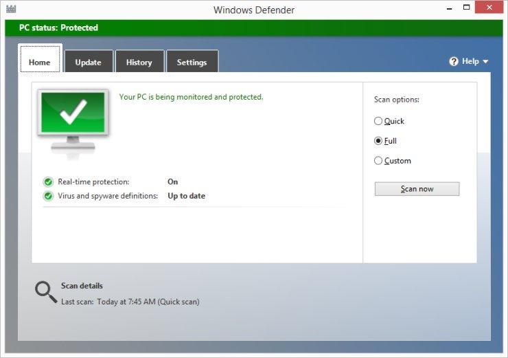 Интерфейс Windows Defender