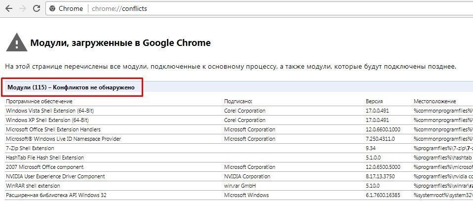 Поиск конфликтов в Google Chrome