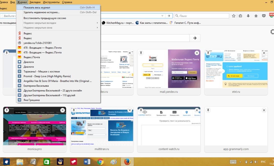 Пункт «Журнал» в Mozilla Firefox