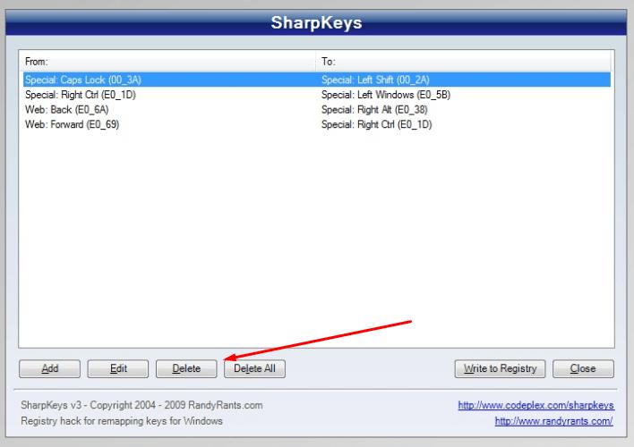 Удаление изменения в SharpKeys