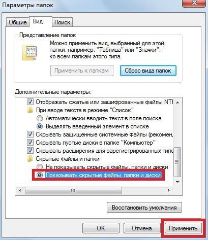 Пункт «Показывать скрытые файлы» во вкладке «Вид»