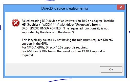 Ошибка «DirectX device creation error»