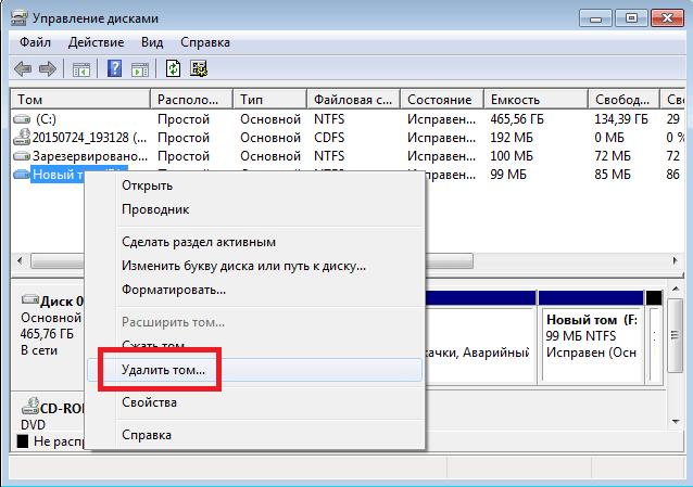 Пункт «Удалить том» в пункте «Управление дисками»