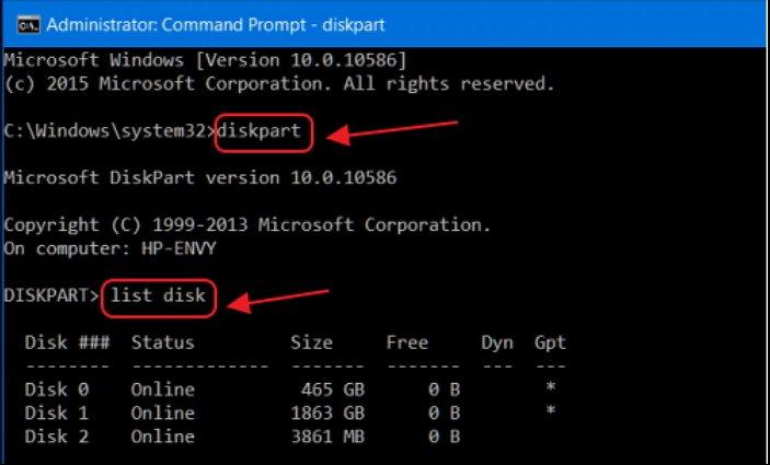 Команды diskpart и list disk в окне «Командной строки»