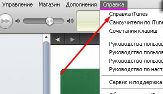 меню «Справка» в iTunes