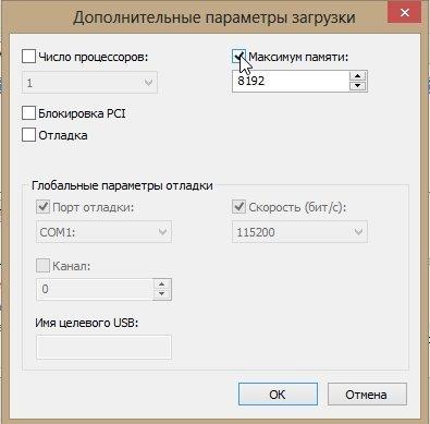 Окно «Дополнительные параметры загрузки»