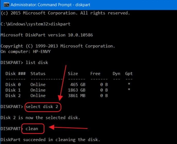 Команды select disk и clean в окне «Командной строки»