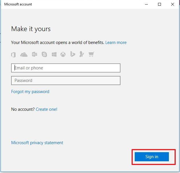Вход в аккаунт Microsoft