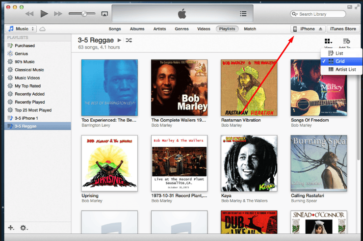 Меню приложения iTunes