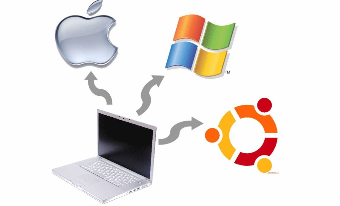 Ноутбук и логотипы операционных систем Mac OS, Windows, Ubuntu