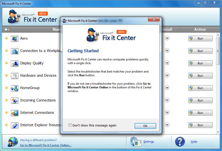 Интерфейс Microsoft Fix It