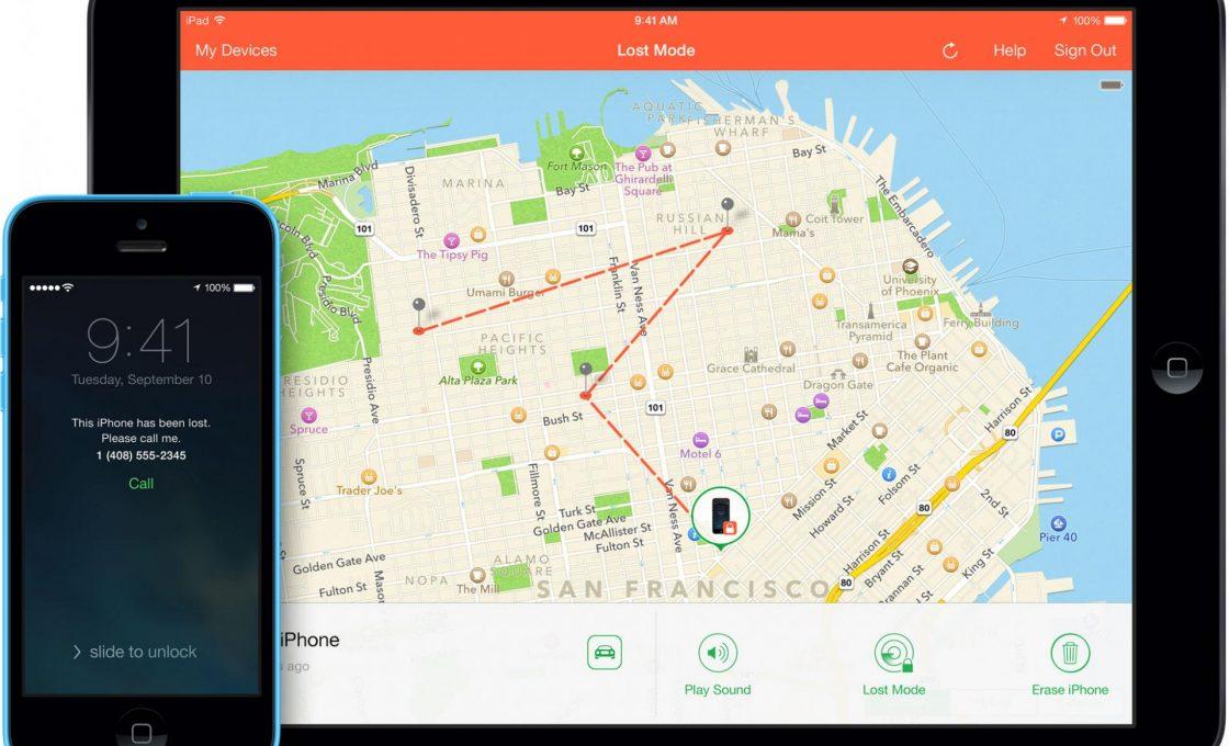 Местоположение телефона, отображаемое сервисом «Найти iPhоne»