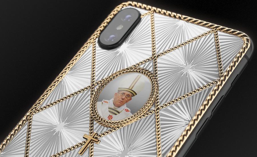 iPhone в стиле Фаберже с изображением Папы Римского