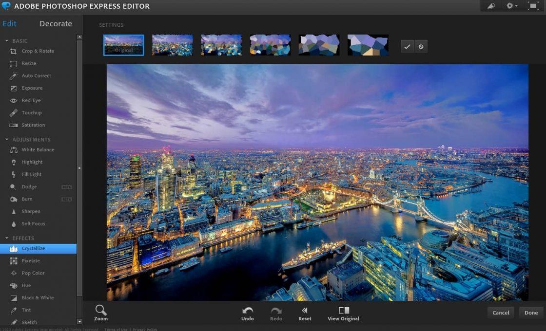 Обработка изображение в Photoshop Express Editor