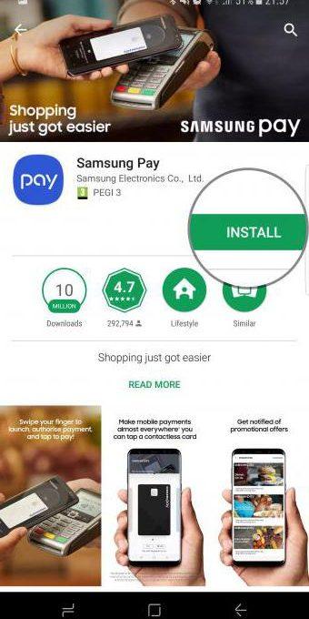 Страница приложения Samsung Pay в Google Play