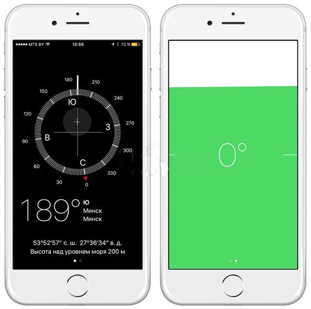 Определение горизонтали с помощью iPhone