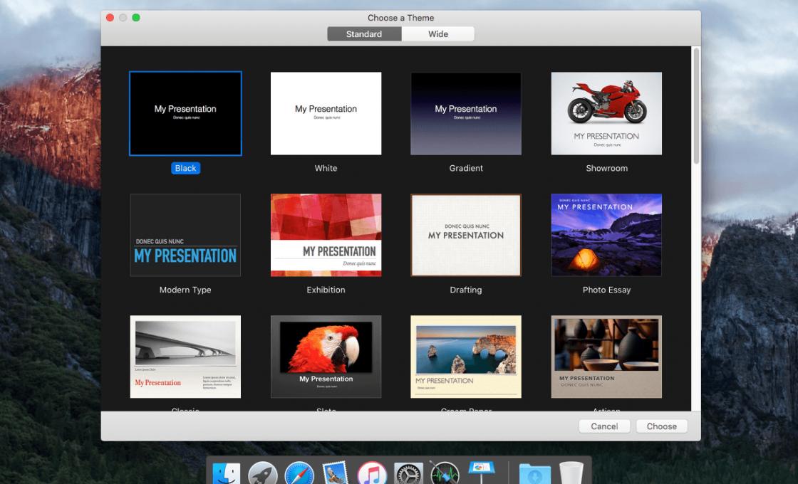 Окно редатора презентация Apple Keynote