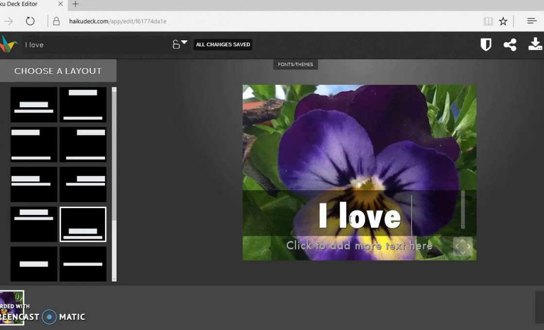 Окно редактора презентаций Haiku Deck