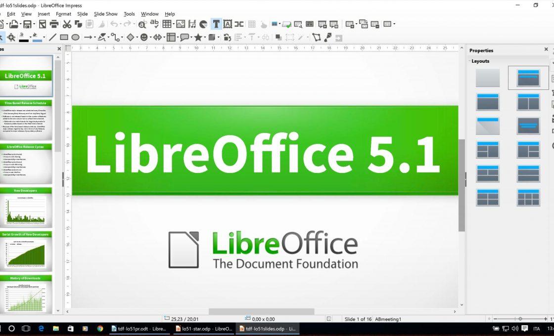 Окно редактора LibreOffice Impress