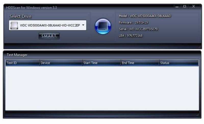 Интерфейс программы HDDScan для проверки жесткого диска