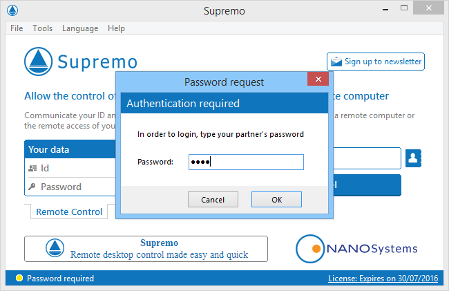 Интерфейс Supremo Remote Desktop
