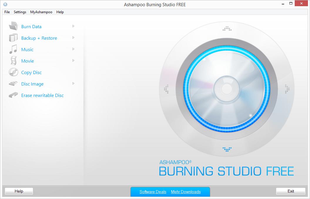 Интерфейс бесплатной версии программы Ashampoo Burning Studio