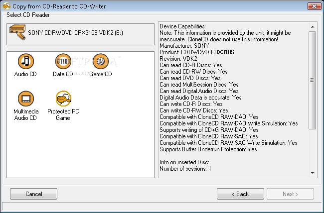 Интерфейс программы CloneCD