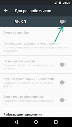 Кнопка функции включения скрытых настроек Для разработчиков