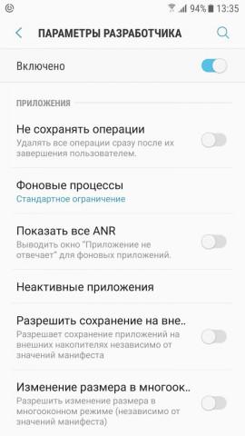 Экран меню Параметры разработчика