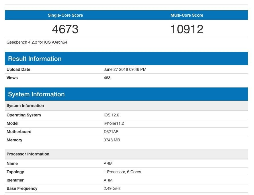 iPhone Geekbench