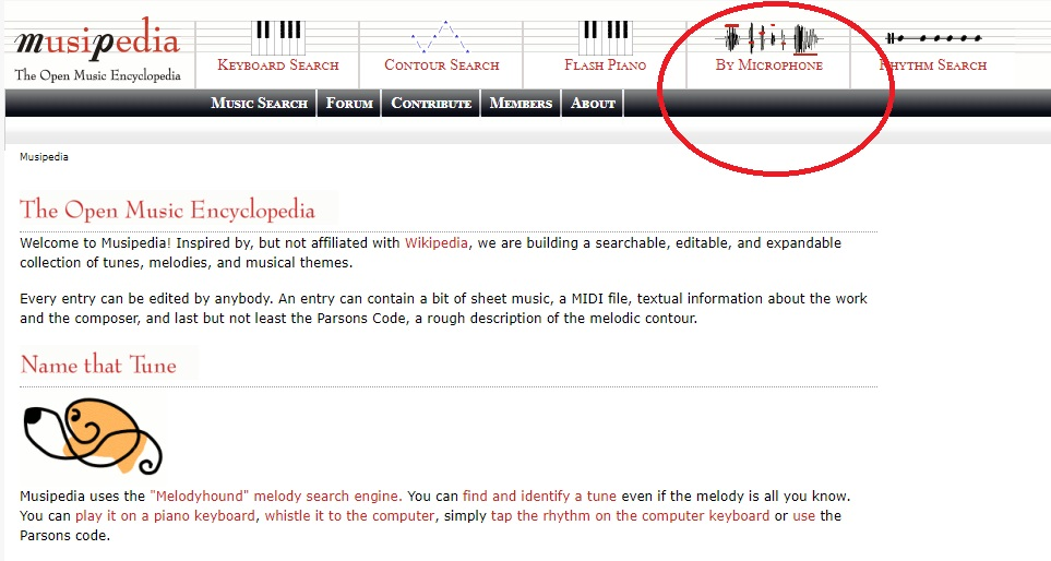 Сервис для распознавания музыки Musipedia
