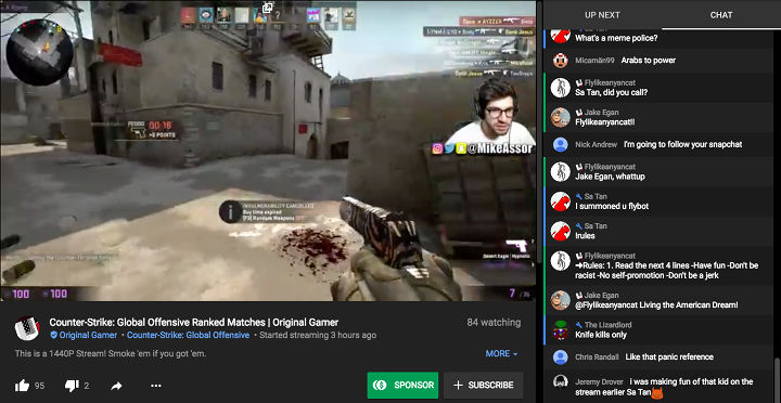 Стрим по видеоигре Counter-Strike на YouTube