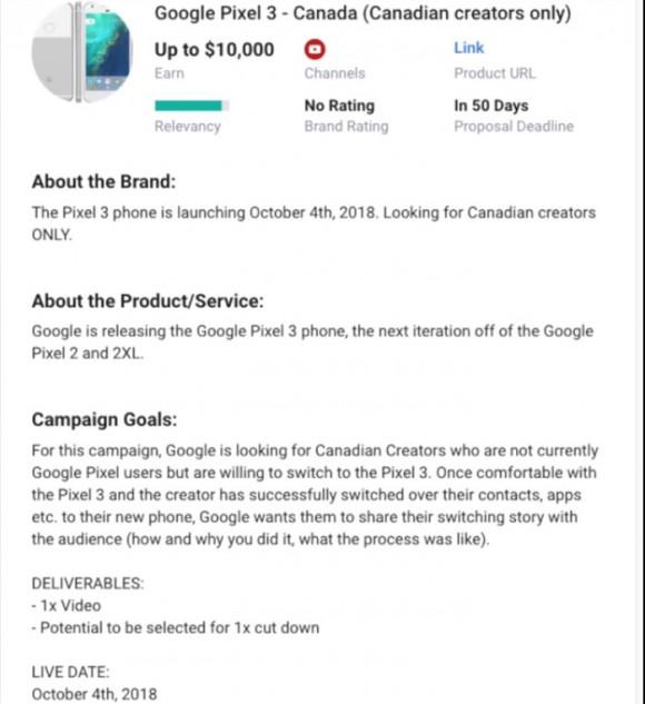 Объявление Google на Famebit
