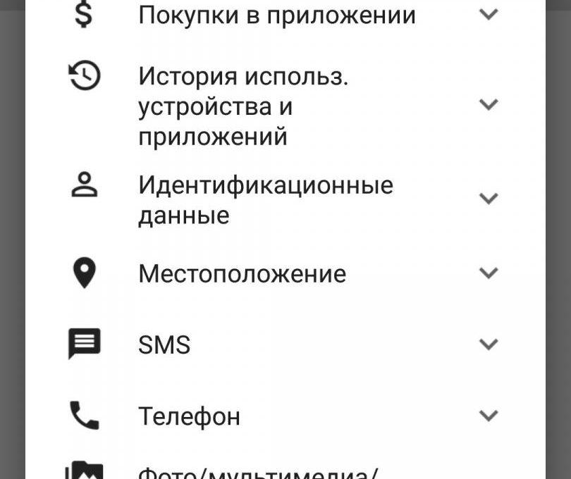 Список требуемых разрешений Smart Lock