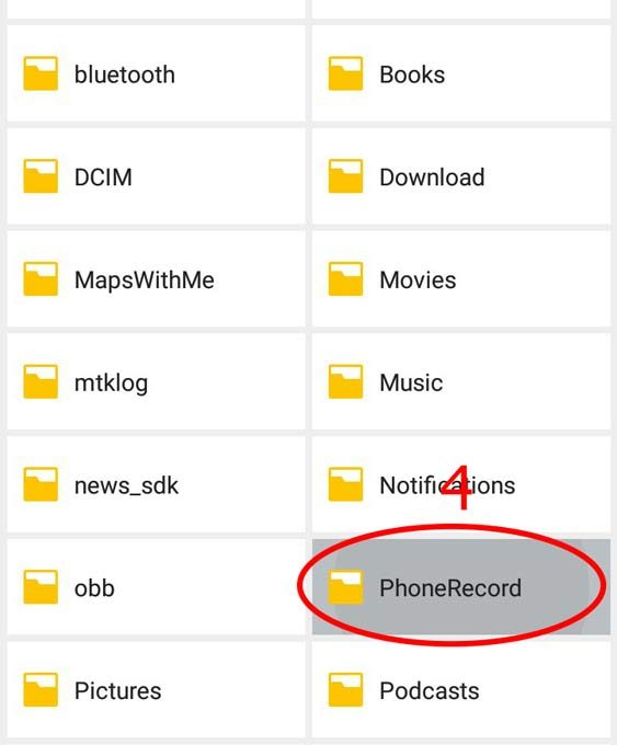 Папка с записанными файлами