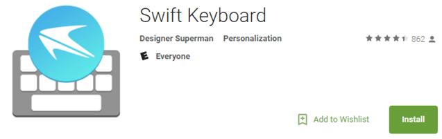 Поддельное приложение Swift Keyboard