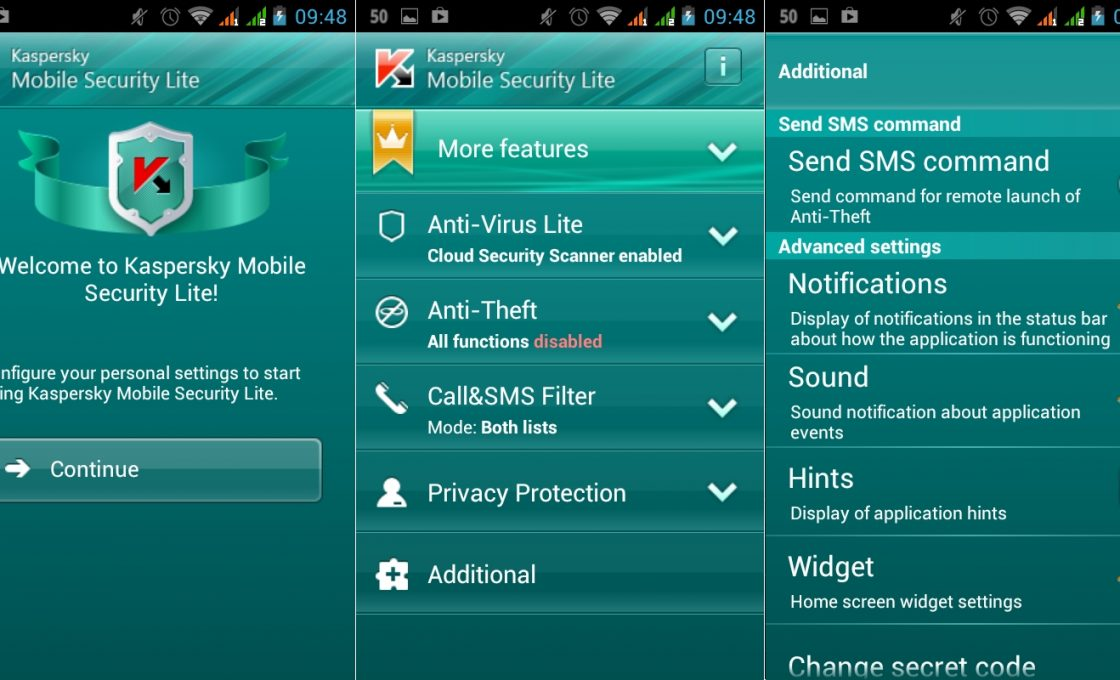 Скриншот Kaspersky Mobile Security Lite