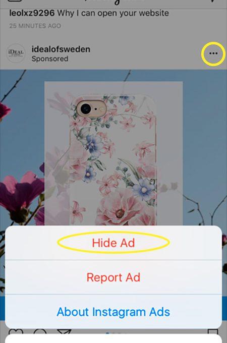 Как убрать рекламу в Инстраграме