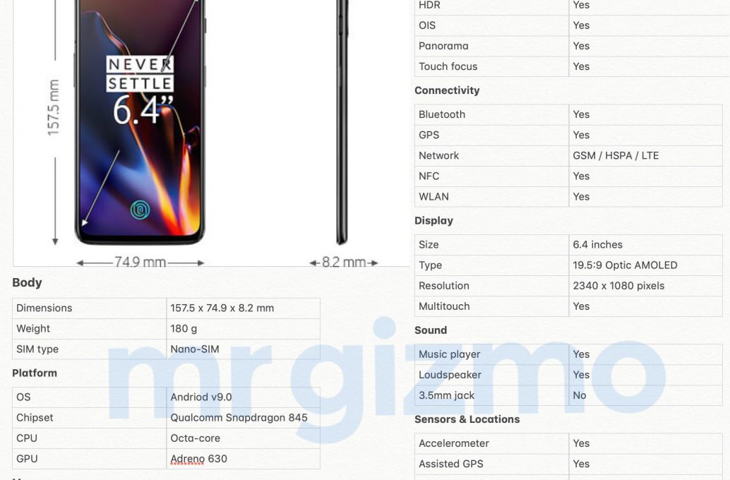 Технические характеристики OnePlus 6T