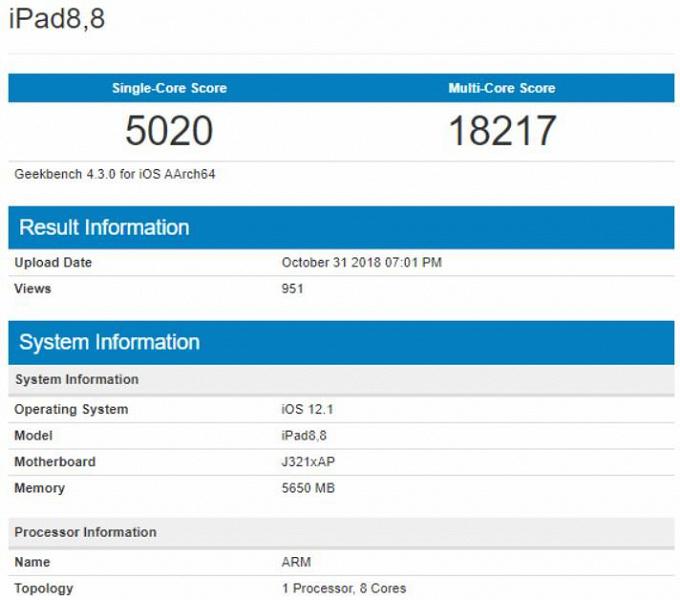 Результат тестирования нового iPad Pro в Geekbench
