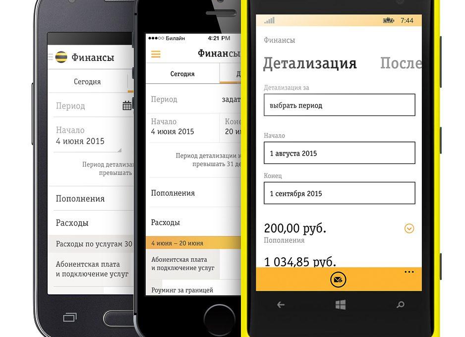 Детализация через мобильное приложение