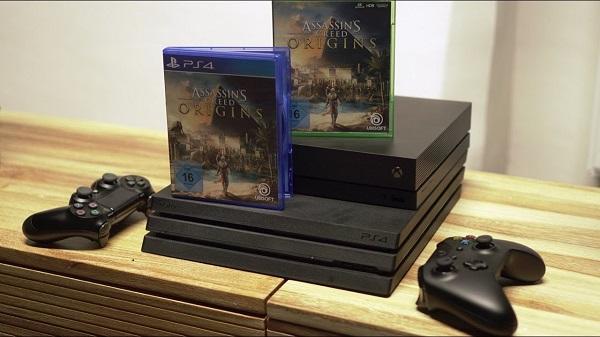 Приставки PS4 и Xbox с игрой Assassin's Creed Origins
