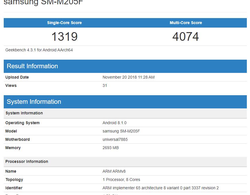 Результаты тестирования Samsung Galaxy M2 в Geekbench