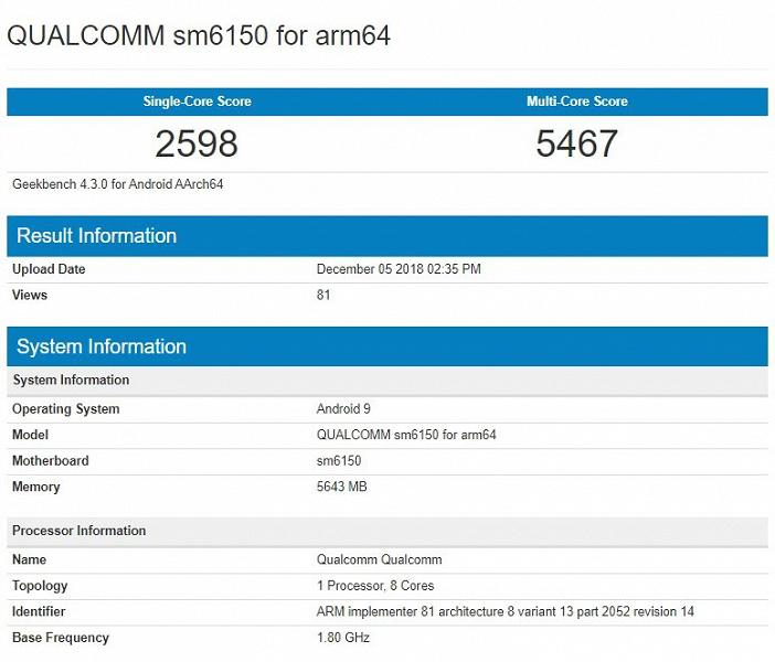 Результаты тестирования Qualcomm SM6150 в Geekbench