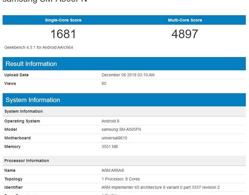 Результаты тестирования Samsung Galaxy A50 в Geekbench